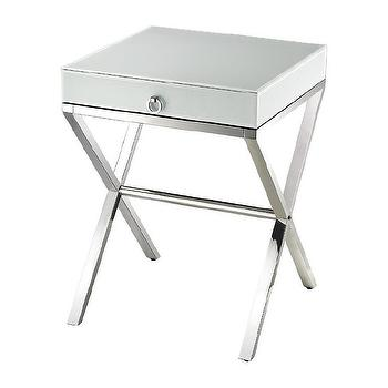 Storage Furniture - White Glass Side Table design by Lazy Susan I Burke Decor - white glass side table, white glass and steel side table, stainless steel based side table, modern white single drawer side table,