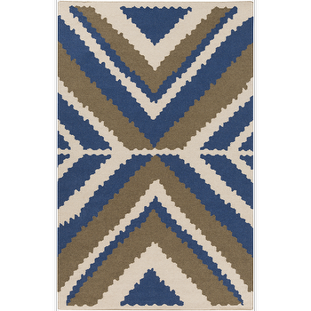 Rugs - Alameda Ivory, Cobalt, & Olive Rug design by Beth Lacefield I Burke Decor - cobalt blue and brown rug, blue brown and ivory rug, modern blue and brown rug,