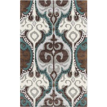 Rugs - Banshee Ivory & Teal Rug design by Surya I Burke Decor - brown gray and teal rug, brown and teal area rug, brown and teal damask rug,