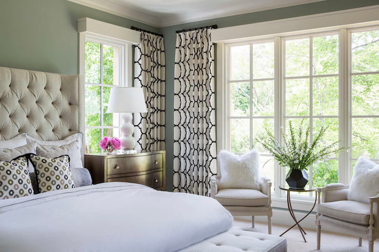 Black And White Curtains Transitional Bedroom