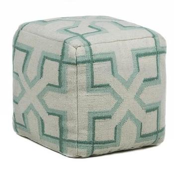 Seating - Hand-knitted Contemporary Wool Pouf I Burke Decor - seafoam green floor pouf, geometric seafoam green pouf, green and gray floor pouf,