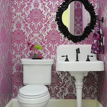 Anna Forkum - bathrooms - single leg porcelain sink, single leg porcelain sink, vintage style pedestal sink, porcelain sink with backsplash, oil rubbed bronze hook spout faucet, black baroque mirror, black lacquered mirror, silver and pink flock wallpaper, washable wallpaper, fuchsia pink and silver wallpaper, flock effect wallpaper, washable bathroom wallpaper, black and white tiled floors, black and white checkered floor, oil rubbed bronze wall sconce, bronze wall sconce with frosted shade, pink black and white powder room, pink silver and black powder room, pink and silver powder room, powder room wallpaper, wallpaper for powder rooms, 1 leg sink, 1 leg pedestals ink, 1 leg powder room sink, 1 leg bathroom sink, vintage pedestal sink, black vanity mirror, black quatrefoil mirror, silver and pink wallpaper, metallic wallpaper, metallic flocked wallpaper, silver and pink flocked wallpaper, powder room wallpaper, wallpaper for powder rooms, vinyl wallpaper, flocked vinyl wallpaper, vinyl damask wallpaper, vinyl metallic wallpaper, washable wallpaper, , Elizabeth Flock Effect Vinyl Washable Wallpaper,