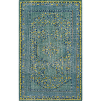 Rugs - Zahra Gold & Lime Rug design by Surya I Burke Decor - teal and lime green rug, teal and green rug, teal and lime green indian rug,