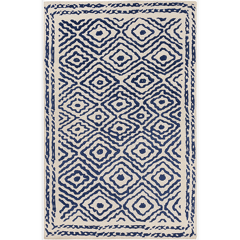 Rugs - Atlas Cobalt & Beige Rug design by Beth Lacefield I Burke Decor - cobalt blue and beige rug, blue and beige modern rug, cobalt blue diamond print rug,
