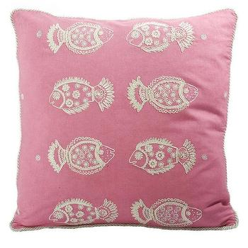 Pillows - Pisces Pink Pillow design by Allem Studio I Burke Decor - pink fish pillow, pink embroidered fish pillow, pink pisces pillow,