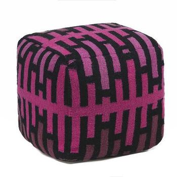 Seating - Hand-knitted Contemporary Wool Pouf I Burke Decor - pink and black geometric pouf, pink purple and black pouf, pink and black wool pouf,