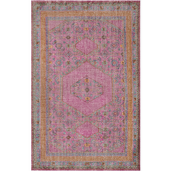 Rugs - Zahra Burnt Orange & Magenta Rug design by Surya I Burke Decor - magenta and orange rug, pink purple and orange rug, traditional magenta and orange rug,