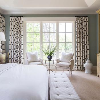 Black and White Trellis Curtains, bedroom, Benjamin Moore Iced Marble, Martha O'Hara Interiors