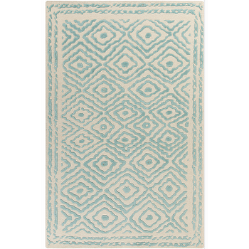 Rugs - Atlas Teal & Cream Rug design by Beth Lacefield I Burke Decor - teal and cream rug, teal and cream diamond rug, modern teal and cream rug,