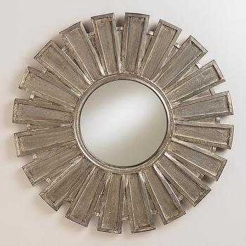 Mirrors - Luna Sunburst Mirror I World Market - sunburst mirror, wooden sunburst mirror, silver sunburst mirror, antiqued sunburst mirror,