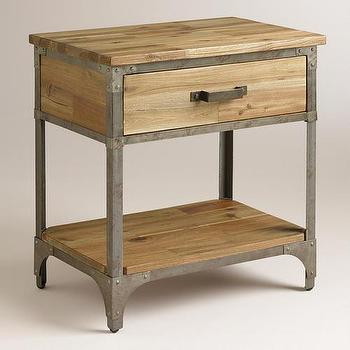 Storage Furniture - Aiden Nightstand I World Market - wood and iron nightstand, industrial one drawer nightstand, industrial single drawer nightstand,