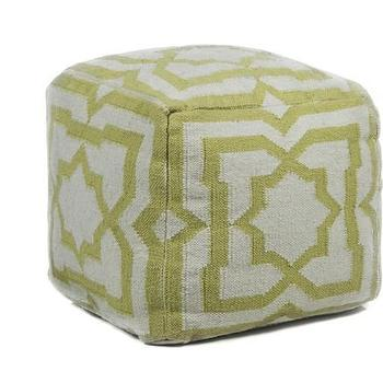 Seating - Hand-knitted Contemporary Wool Pouf I Burke Decor - lime green geometric pouf, modern green pouf, lime green wool pouf,