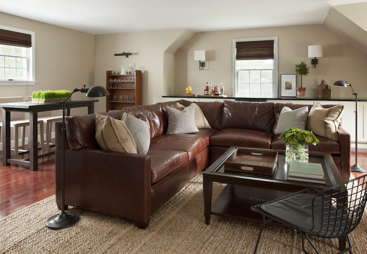 Brown Leather Sectional Transitional Living Room