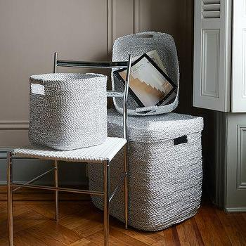 Storage Furniture - Metallic Woven Baskets | West Elm - silver woven basket, metallic silver basket, metallic woven basket,
