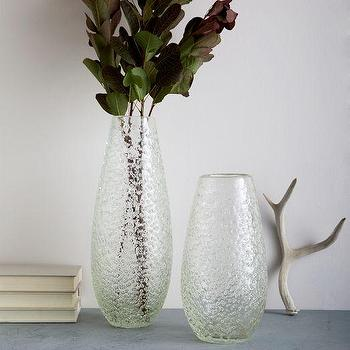 Decor/Accessories - Snowflake Glass Vases | West Elm - speckled glass vase, speckled clear vase, tapered clear vase,