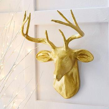 Art/Wall Decor - Papier Mache Animal Sculpture - Golden Deer | West Elm - gold deer faux taxidermy, gold deer mount, gold deer head, gold papier mache deer head,