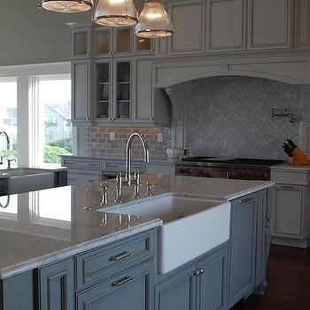 Carrera Marble Countertop, Transitional, kitchen, Restoration Hardware Silver Sage, Amy Tyndall Designs