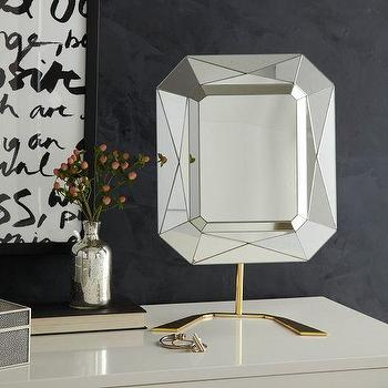 Mirrors - Eduardo Garza Vanity Mirror | West Elm - faceted make up mirror, modern make up mirror, geometric make up mirror, modern vanity mirror,