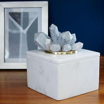 Decor/Accessories - Eduardo Garza Crystal Box | West Elm - marble and crystal box, crystal topped box, crystal lidded box,