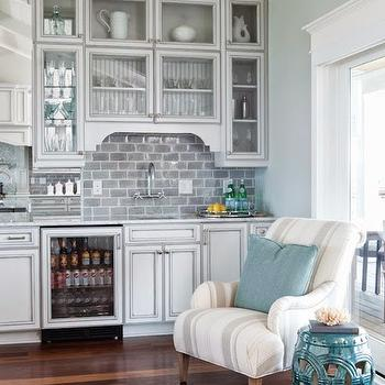 Wet Bar Ideas, Cottage, kitchen, Restoration Hardware Silver Sage, Amy Tyndall Designs