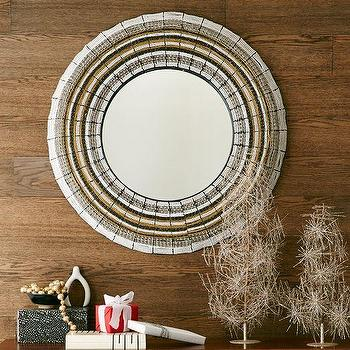 Mirrors - Beaded Round Mirror | West Elm - round beaded mirror, indian beaded mirror, metallic beaded mirror,