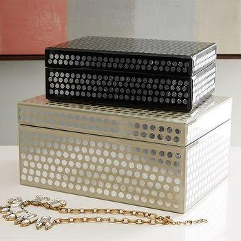 Decor/Accessories - Metallic Polka Dot Boxes | West Elm - silver and gold trinket box, decorative gold and silver box, black and silver trinket box, silver polka dot box, gold and silver polka dot box,