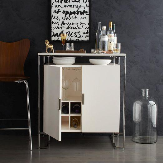 Baron deco bar cabinet white lacquer i west elm - West elm bathroom storage ...