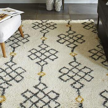 Rugs - Fes Wool Shag Rug - Ivory / Slate I West Elm - black gold and cream shag rug, black and gold shag rug, patterned shag rug,