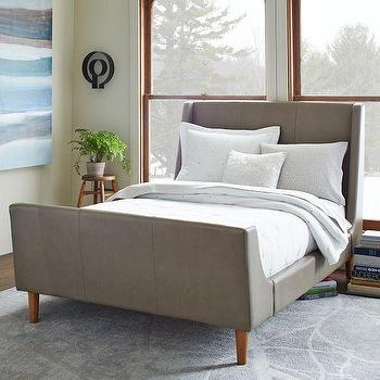 Beds/Headboards - Leather Sleigh Bed I West Elm - gray leather bed, modern gray leather bed, gray leather sleigh bed,