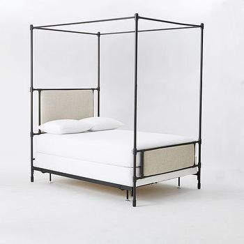 Beds/Headboards - Rhodes Upholstered Metal Canopy Bed I West Elm - steel upholstered canopy bed, campaign style canopy bed, contemporary campaign bed, metal canopy bed, metal upholstered canopy bed,