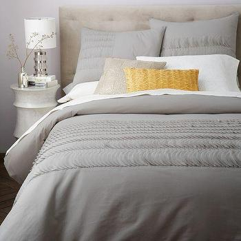Bedding - Applique Ruffle Stripe Duvet Cover + Shams - Platinum I West Elm - gray bed linens, gray ruffled bed linens, ruffle stripe duvet cover, gray appliqued bedding, gray appliqued duvet,