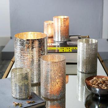Decor/Accessories - Crackle Ribbed Hurricanes | West Elm - mercury glass candle hurricane, crackled silver hurricane, crackle ribbed hurricane,