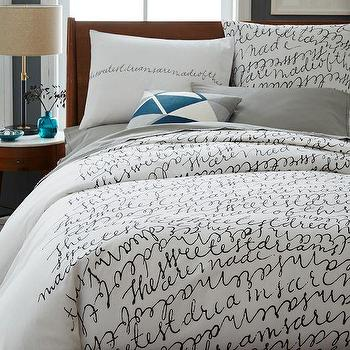 Bedding - Patch NYC Script Duvet Cover + Shams - Stone White I West Elm - black and white script bedding, script bed linens, script duvet,
