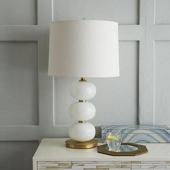 Lighting - Abacus Table Lamp - Milk White I West Elm - white glass sphere table lamp, white glass and brass table lamp, white stacked sphere lamp, white stacked globe lamp,