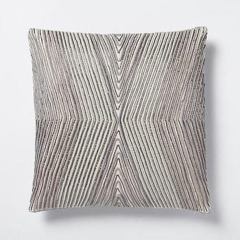 Pillows - Beaded Kaleidoscope Pillow Cover - Platinum I West Elm - silver pillow, metallic silver pillow, art deco silver pillow, geometric silver pillow,
