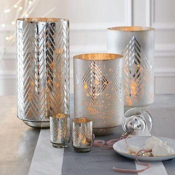 Decor/Accessories - Frosted Deco Mercury Hurricanes | West Elm - patterned mercury glass vase, patterned mercury glass hurricane, chevron mercury glass vase,