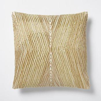 Pillows - Beaded Kaleidoscope Pillow Cover - Horseradish I West Elm - geometric gold pillow, gold art decor pillow, gold corded pillow,