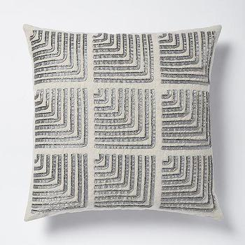 Pillows - Beaded Corners Pillow Cover - Platinum I West Elm - silver beaded pillow, silver geometric beaded pillow, silver and gray pillow, silver gray geometric pillow,