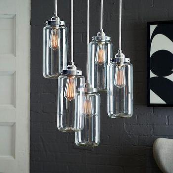 Lighting - 5-Jar Glass Chandelier - Brushed Nickel I West Elm - glass jar chandelier, modern canning jar chandelier, modern glass jar pendant light,