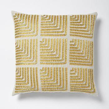Pillows - Beaded Corners Pillow Cover - Horseradish I West Elm - beaded gold pillow, geometric gold pillow, gold art deco pillow,