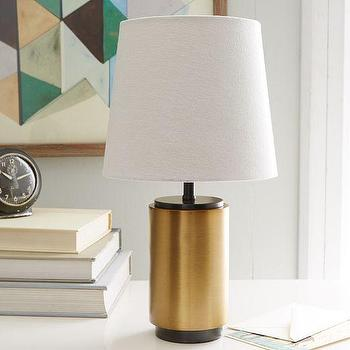 Lighting - Small Pillar Table Lamp - Antique Brass | West Elm - antique brass lamp, modern brass lamp, brass pillar table lamp,