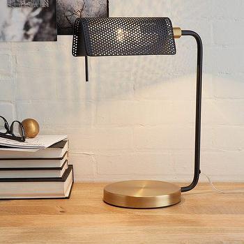 Lighting - Modern Banker's Table Lamp   West Elm - modern bankers lamp, black and brass desk lamp, desk lamp with pierced shade, desk lamp with perforated shade,
