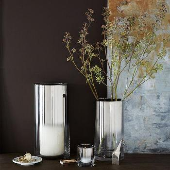 Decor/Accessories - Metallic Ombre Hurricanes | West Elm - silver ombre hurricane, silver hurricane, silver ombre candle holder, silver candle holder,
