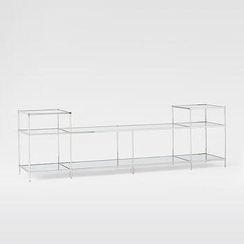Storage Furniture - Terrace Media Stand I West Elm - nickel and glass media stand, polished nickel media stand, nickel and glass media console,