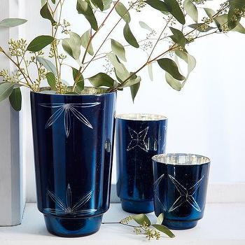 Decor/Accessories - Mercury Cut Glass Hurricanes | West Elm - blue mercury glass hurricane, etched blue glass hurricane, blue mercury glass vase,