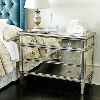 Storage Furniture - Addison Mirrored 3 Drawer Chest I Ballard Designs - mirrored chest, antique mirrored chest, mirrored three drawer chest, mirrored three drawer nightstand,