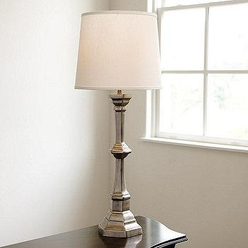 Lighting - Carlisle Tall Table Lamp I Ballard Designs - pewter table lamp, candlestick table lamp, antiqued pewter table lamp,