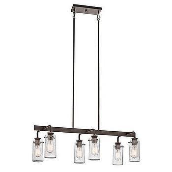 Lighting - Ellison Rectangular Chandelier I Ballard Designs - linear seeded glass chandelier, iron chandelier with seeded glass, linear iron and glass chandelier, long iron and glass chandelier,