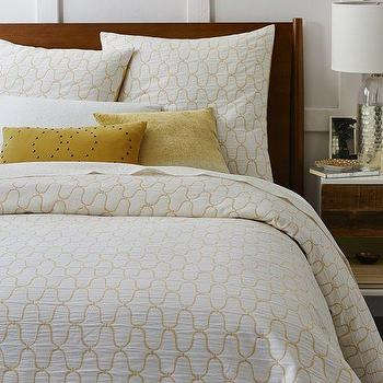Bedding - Organic Bristol Matelasse Duvet Cover + Shams - Stone White/Horseradish I West Elm - yellow and white matelasse duvet, yellow and white matelasse bedding, yellow and white ogee bedding, ogee patterned bedding,
