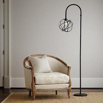 Lighting - Orb Floor Lamp I Ballard Designs - orb floor lamp, floor lamp with orb shade, industrial black floor lamp,